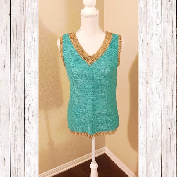 Tops - Sleeveless Turquoise/Gold Top